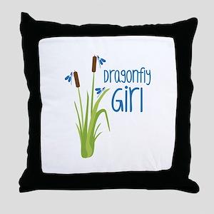 Dragonfly Girl Throw Pillow
