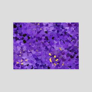 Purple Confetti Hearts 5'x7'Area Rug