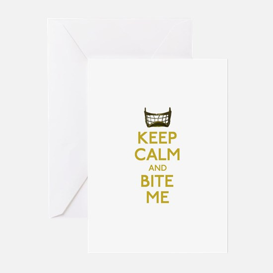 Keep Calm And Bite Me (net) Greeting Cards