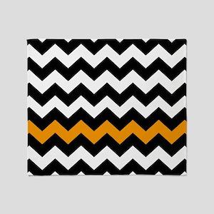 Black and Orange Chevron Zigzags Throw Blanket