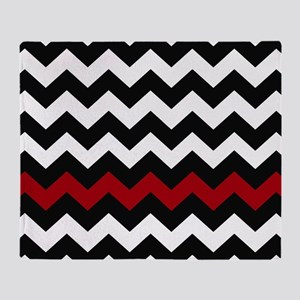 Black and Red Chevron Throw Blanket