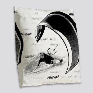 Kitesurf (Light) Burlap Throw Pillow