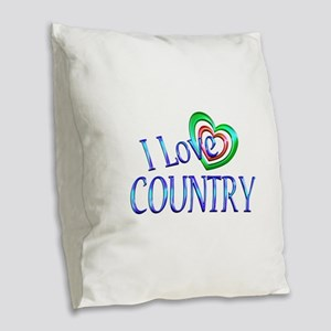 I Love Country Burlap Throw Pillow