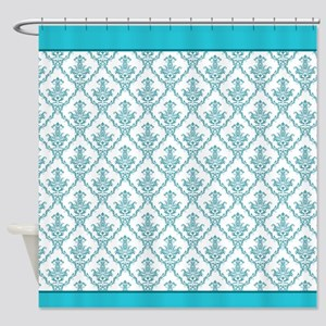 Turquoise Baroque Shower Curtain