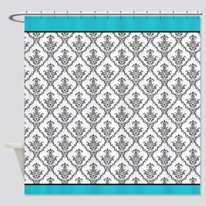 black and turquoise shower curtain. Turquoise And Black Baroque Shower Curtain Vintage Curtains  CafePress
