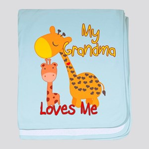 My Grandma Loves Me Giraffe baby blanket