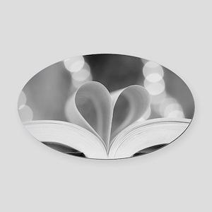 Book Heart Oval Car Magnet