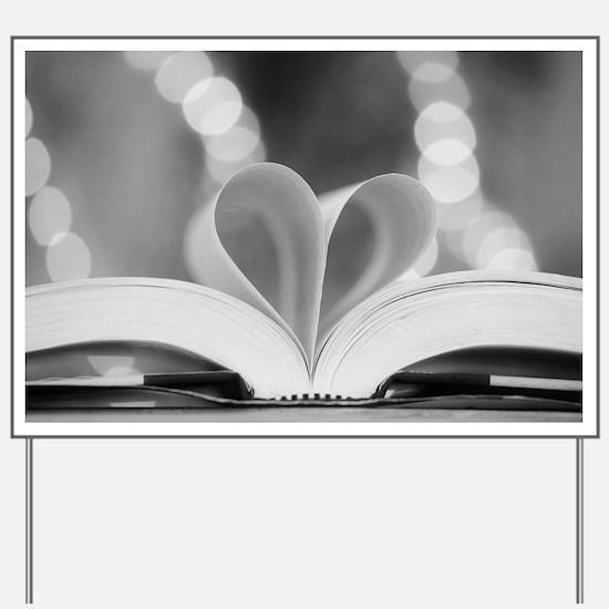 Book Heart Yard Sign