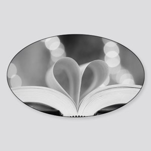 Book Heart Sticker (Oval)