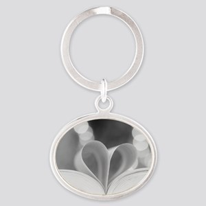 Book Heart Oval Keychain
