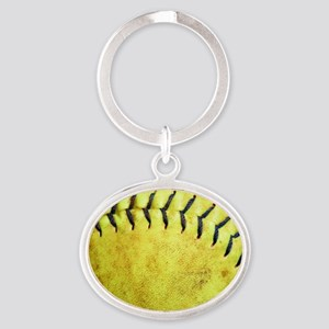 Softball Oval Keychain