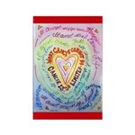 Rainbow Heart Cancer Rectangle Magnet (100 pack)