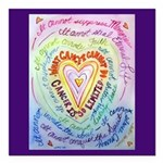 Rainbow Heart Cancer Square Car Magnet 3