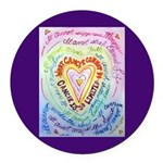 Rainbow Heart Cancer Round Car Magnet