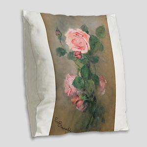 Pretty Pink Roses Burlap Throw Pillow