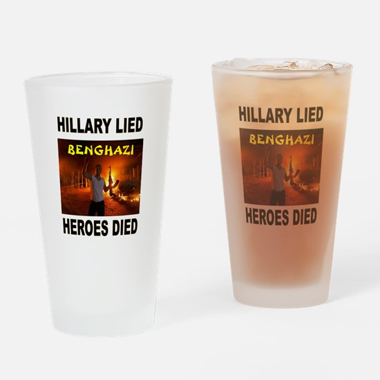 HILLARY LIED Drinking Glass