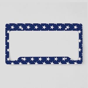White Stars License Plate Holder