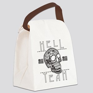 Hell Yeah aztec Skull Canvas Lunch Bag
