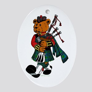 Jimmie the Scottish Piper Bear Oval Ornament
