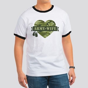Camo Heart Army Wife Ringer T