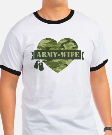 Camo Heart Army Wife T