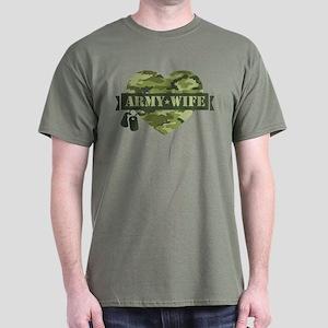 Camo Heart Army Wife Dark T-Shirt