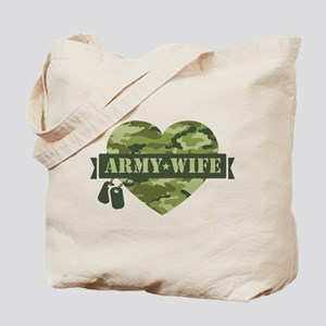 Camo Heart Army Wife Tote Bag