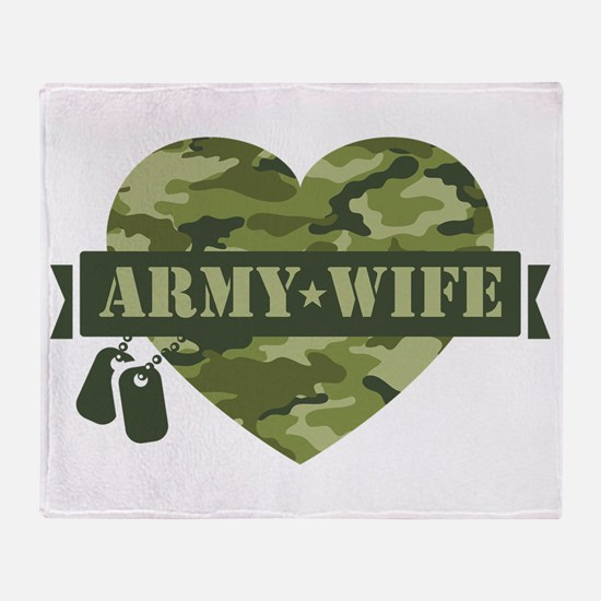 Camo Heart Army Wife Throw Blanket
