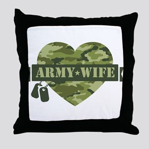 Camo Heart Army Wife Throw Pillow