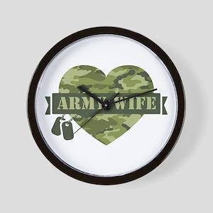 Camo Heart Army Wife Wall Clock