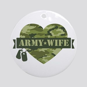 Camo Heart Army Wife Ornament (Round)