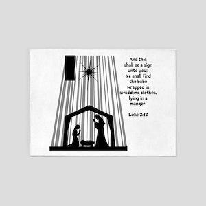 Luke 2:12 5'x7'Area Rug