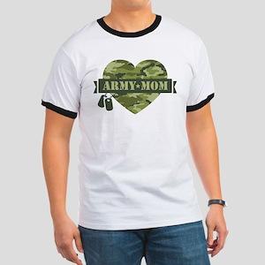 Camo Heart Army Mom Ringer T