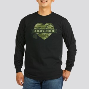 Camo Heart Army Mom Long Sleeve Dark T-Shirt