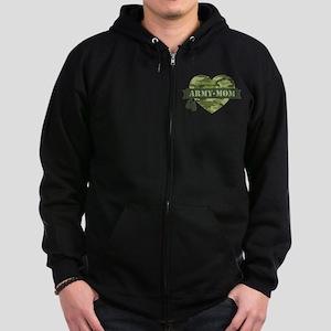 Camo Heart Army Mom Zip Hoodie (dark)