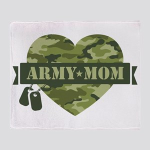 Camo Heart Army Mom Throw Blanket