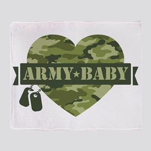 Camo Heart Army Baby Throw Blanket
