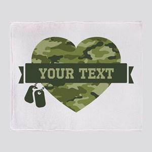 PD Army Camo Heart Throw Blanket