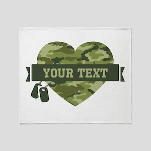 PD Army Camo Heart Throw Blanket