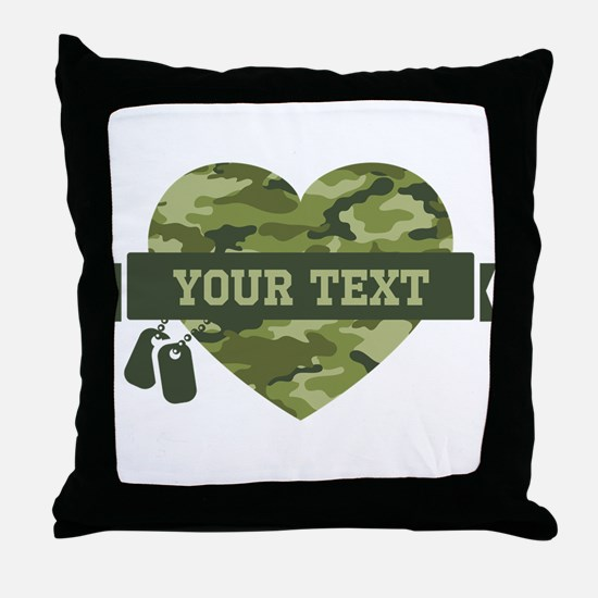 PD Army Camo Heart Throw Pillow