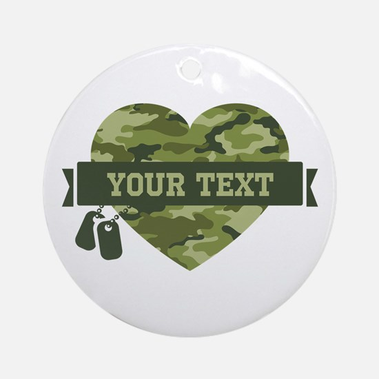 PD Army Camo Heart Ornament (Round)