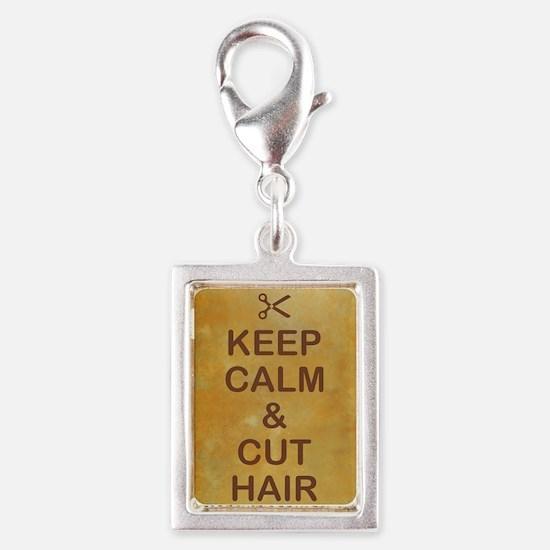 KEEP CALM & CUT HAIR Silver Portrait Charm