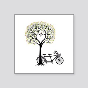 Heart tree with birds and tandem bicycle Sticker