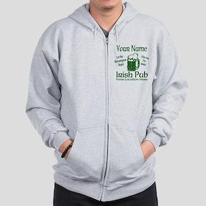 Custom Irish pub Zip Hoodie