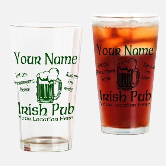 Custom Irish pub Drinking Glass