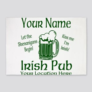 Custom Irish pub 5'x7'Area Rug
