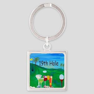 Golf 19th hole art Square Keychain