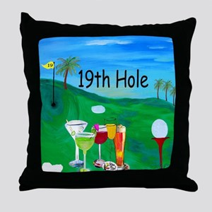 Golf 19th hole art Throw Pillow