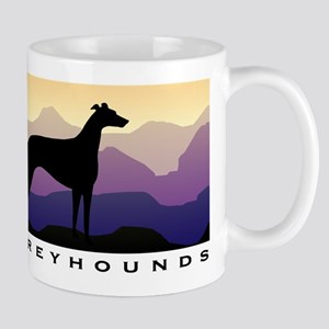 greyhound dog purple mountains Large Mugs