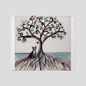 Boston Terrier Love Heart Tree Throw Blanket